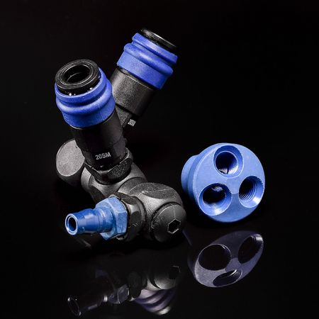Peripheral Products - Manifold circular / Swivel (Nylon66 + Glassfiber) for one-way shutoff quick couplings.