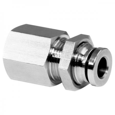 Pneumatische Push-in-Fittings aus Edelstahl mit Schottverschraubung