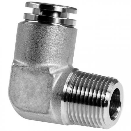 Codo macho de racores neumáticos push-in de acero inoxidable - Codo macho de conexión neumática push-in.