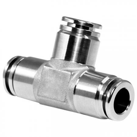 Unión en T de conexiones neumáticas push-in de acero inoxidable - Tees de unión de racores neumáticos push-in.