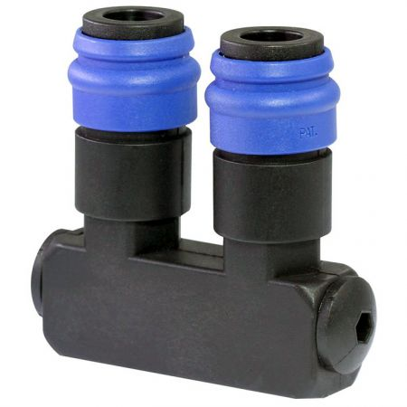 Quick Couplings Manifold Block with Couplings 2 Outlets - Quick Couplings Manifold Block with Couplings 2 Outlets.