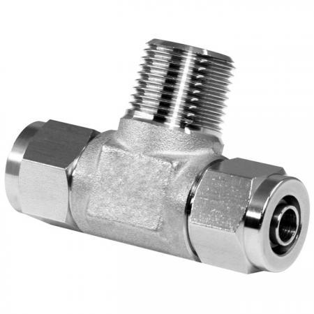 Edelstahl Hochtemperaturbeständigkeit Schnelle pneumatische Fittings Abzweig-T-Stück - Schnelle pneumatische Verschraubung aus Edelstahl für Kunststoffrohre.