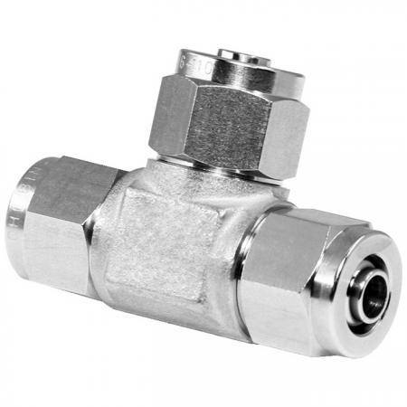 Edelstahl Hochtemperaturbeständigkeit Schnelles pneumatisches Fitting T-Stück - Schnelle pneumatische Verschraubung aus Edelstahl für Kunststoffrohre.