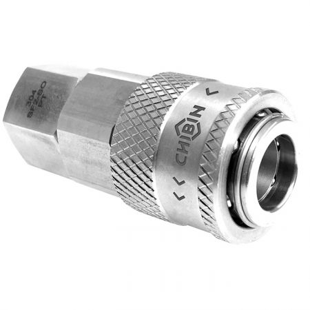 Safety One Touch Quick Couplings Female Socket - Stainless steel automatic locking quick coupling, One-hand operating quick coupling for pneumatic tools.