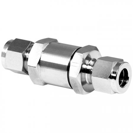 Tube Check Valve - Stainless steel double-ferrule check valve enables pressure to be adjusted.