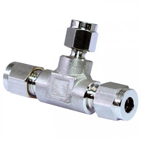 Raccordi per tubi in acciaio inossidabile 316 che riducono il raccordo a T - Raccordi per tubi a doppia ghiera in acciaio inossidabile 316 che riducono il raccordo a T.
