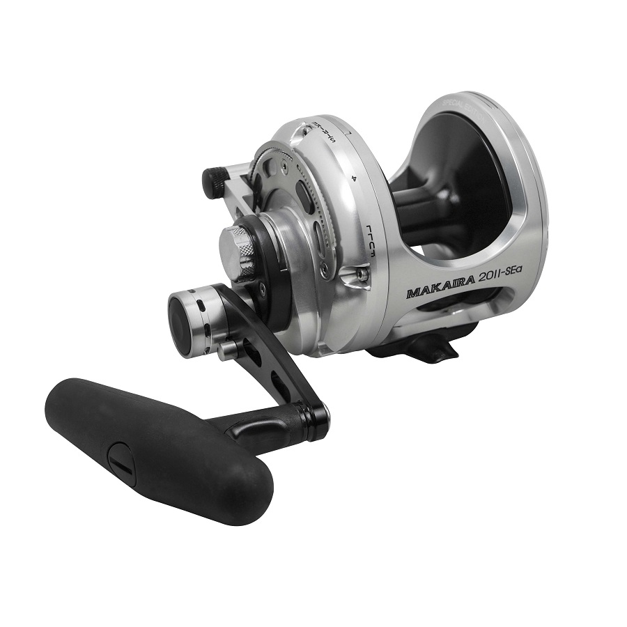 Makaira Sea Silver Lever Drag Reel - Okuma Makaira Sea Silver Lever Drag Reel-Special edition gun smoke and silver anodizing-Carbonite dual force drag system -Over sized handle and lower low speed gearing versus the original Makaira