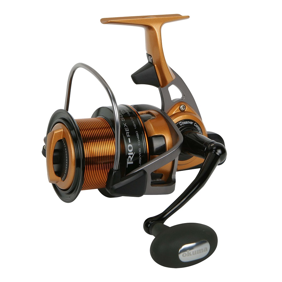 Trio Rex Surf Spinning Reel - Okuma Trio Rex Surf Spinning Reel-Core strength from aluminum and integrating graphite for lightweight handling -Line control spool for longer casting distance