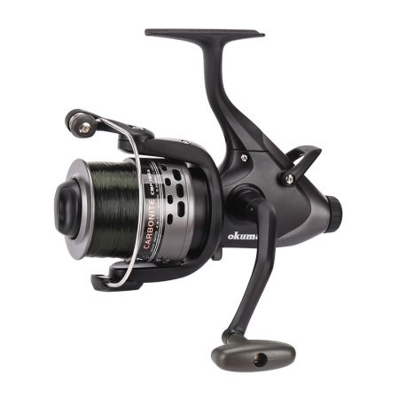 بكرة الغزل الكاربونايت XP Baitfeeder - Okuma Carbonite XP Baitfeeder Spinning Reel-On / Off auto trip bait feed system-Precsion Elliptical Gearing System