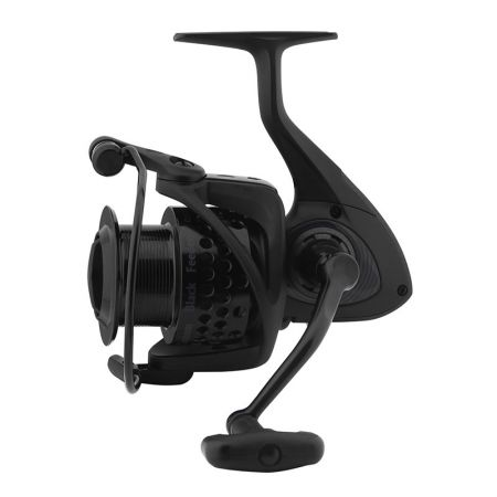 Custom Black Feeder Reel - Okuma Custom Black Feeder Reel-Precision Elliptical Gearing System-Cyclonic Flow Rotor-Aluminum regular spare spool-Rigid metal handle with EVA knob