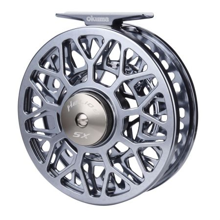 Helios SX Fly Reel (2021 NEW) - Okuma Helios SX Fly Reel- machined aluminum and anodized frame and spool- Multi-disk Japanese felt drag washers provide incredible smoothness- Hydro Block watertight drag seal protects the drag system