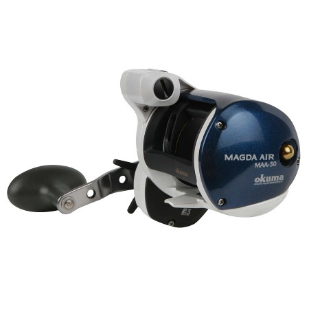 Magda Air Line Counter Reel - Okuma Magda Air Line Counter Reel-New line guide system offers more stability while packing line onto the reel-Integrated reel foot design