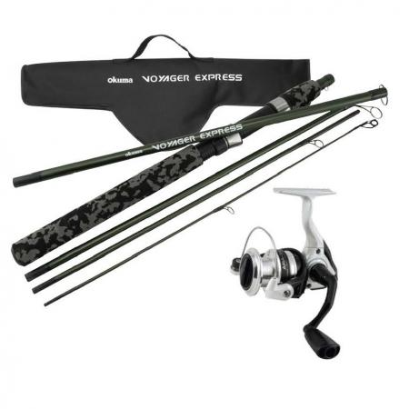 "Voyager Xpress Travel Kit Combo - Okuma Voyager Xpress Travel Kit Combo-Composite rod blanks for durability-5-pcs breakdown for easy transportation-""T"" Modelos represent full telescopic version"