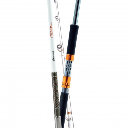 Cruz Popping Rod - Okuma Cruz Popping Rod-Extremely durable carbon and glass blank mixture for ultimate strength-ALPS 316-grade stainless steel double footed guide frames-Smaller diameter guide inserts allow line to shoot out of rod for longer cast