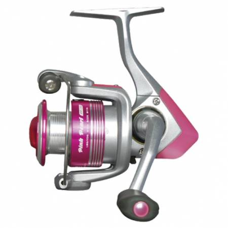 Pink Pearl Spinning Reel - Okuma Pink Pearl Spinning Reel-Color scheme of pink and silver-Precision Elliptical Gearing-Machined cut aluminum and 2-tone anodized spool