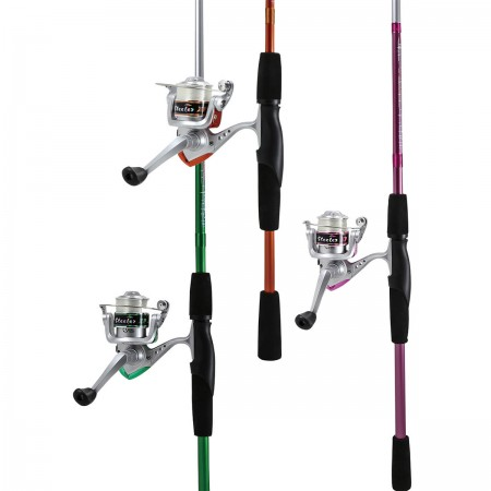 Steeler XP Spinning Combos - Okuma Spinning Combos Okuma Steeler XP - Os Spinning Combos coloridos, divertidos e fáceis de pesar rod and reel combos Steeler - Ótima opção para viagens à lagoa ou lago - Construção em branco de haste de fibra de vidro durável
