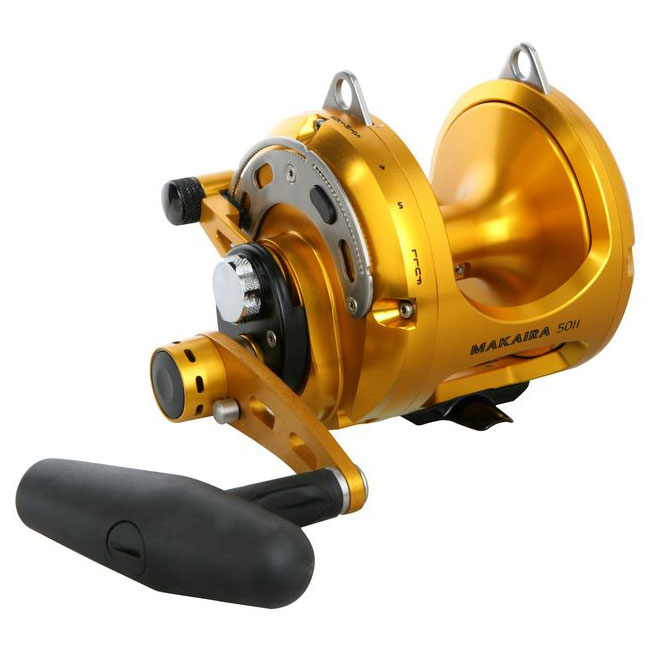 Makaira Lever Drag Reel - Okuma Makaira Lever Drag Reel-Perfect for big game fisheries-Carbonite Dual Force drag system-Machined Rigid Frame-Two speed gearing systems