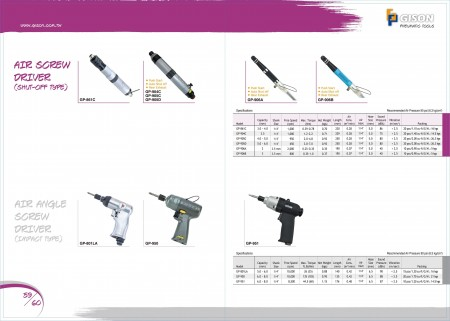 GISON Air ScrewDriver (Shut-Off Type), Air Angle ScrewDriver (Impact Type)