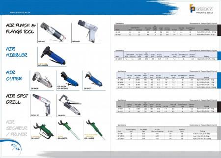 GISONエアパンチフランジツール、エアニブラー、エアカッター、エアスポットドリル、エア剪定ばさみ、エアプルーナー