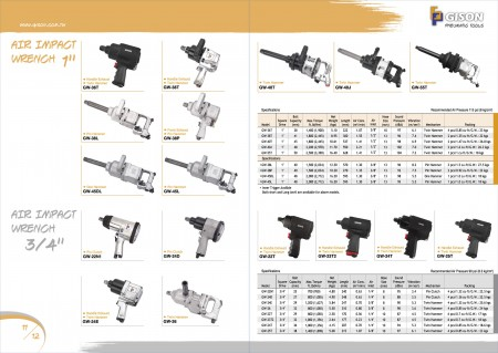"""GISON Air Impact Wrench 1 """", Air Impact Wrench 3/4"""""""