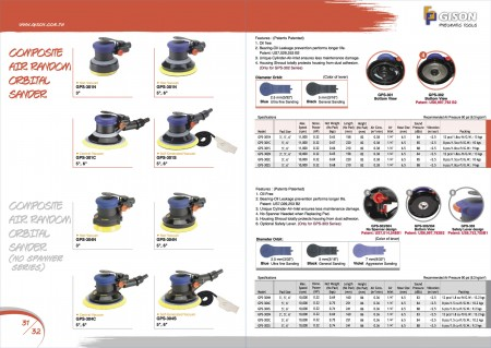 GISON GPS-301/302 Air Sander Orbital สุ่ม, GPS-303/304 Air Sander Orbital สุ่ม (ไม่มี Spier Serier)