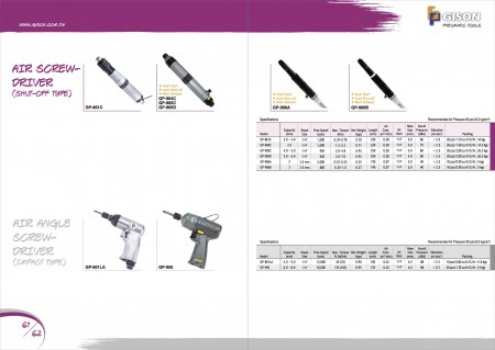 GISON Air ScrewDriver (afsluittype), Air Angle ScrewDriver (impacttype)
