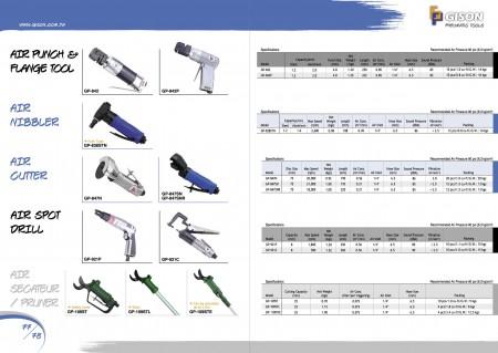 GISON เครื่องมือแปลนลม Punch, Air Nibbler, เครื่องตัดอากาศ, Air Spot Drill, Air Pruner, Air Secateur