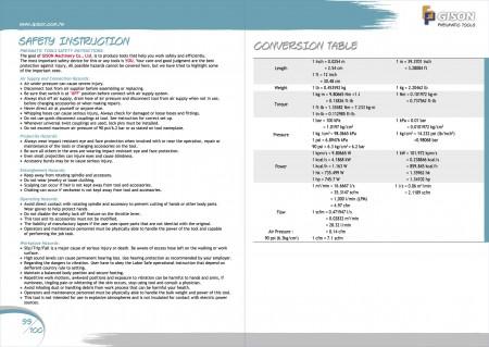 GISON Herramientas neumáticas, herramientas neumáticas Instrucciones de seguridad, factores de conversión de unidades