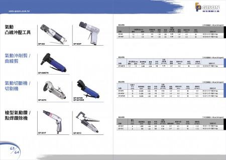 GISONエアパンチフランジツール、エアニブラー、エアカッター、エアスポットドリル