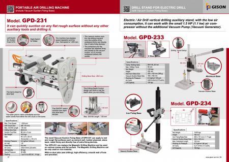 GPD-231ポータブルエアドリルマシン、GPD-233,234ドリルスタンド