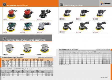 エアランダムオービタルサンダー、ロボットアーム用エアランダムオービタルサンダー、ギア駆動エアサンダー