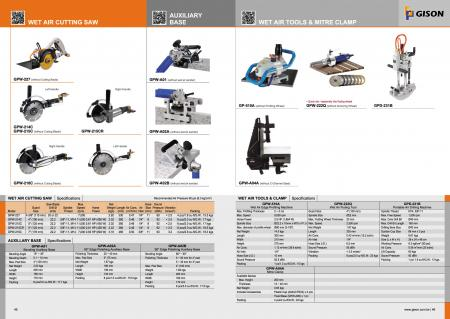 Wet Air Cutting Saw, Beveling Auxiliary Base, Wet Air Stone Router, Wet Air Fluting Tool, Wet Air Drilling Maching, Mitre Clamp