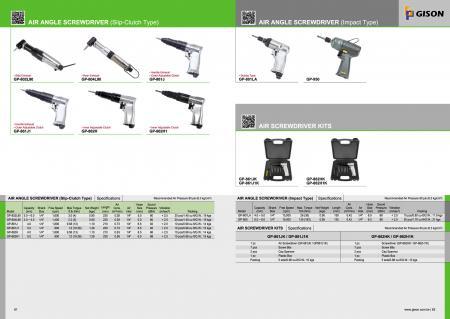 Slip-Clutch Type / Impact Type Air Angle Screwdriver, Air Screwdriver Kit