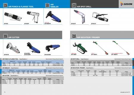 เครื่องมือแปลน Air Punch, Air Nibbler, เครื่องตัดอากาศ, Air Spot Drill, Air Secateur / Pruner