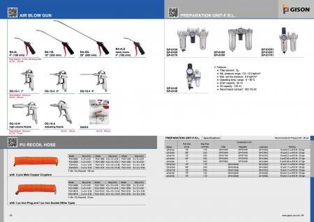 Air Blow Gun, PU Recoil Hose, Preparation Unit - Filter, Regulator, Lubricator