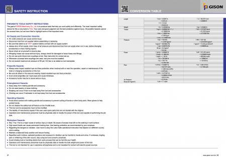 Инструкции за безопасност на въздушните инструменти, таблица за преобразуване