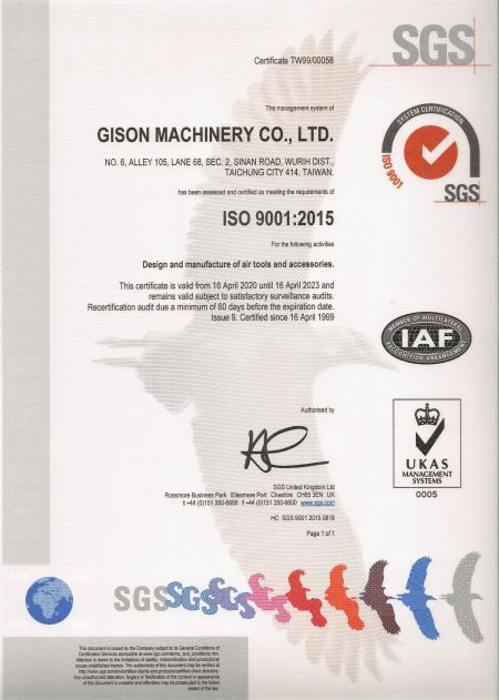 ISO-9001:2015 품질 인증 인증서