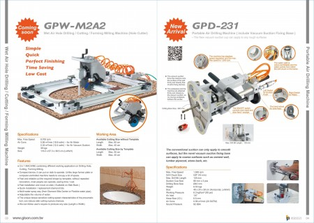 GISON GPW-M2A2 wet air hole drilling / cutting / forming milling machine, GPD-231 portable air hole drilling machine