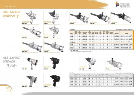 """GISON Air Impact Wrench 1"""", Air Impact Wrench 3/4"""""""