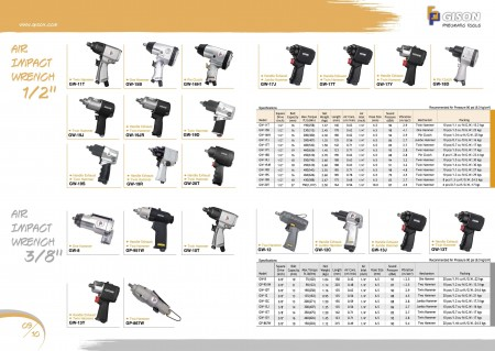 """GISON Air Impact Wrench 1/2"""", Air Impact Wrench 3/8"""""""