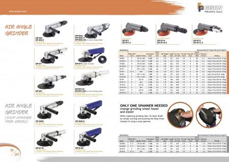 GISONエアアングルグラインダー、エアアングルグラインダー(ストップスパナフリー)