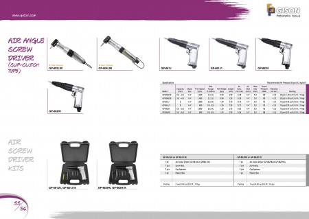 GISON Air ScrewDriver (Τύπος Slip-Clutch), Σετ Air ScrewDriver