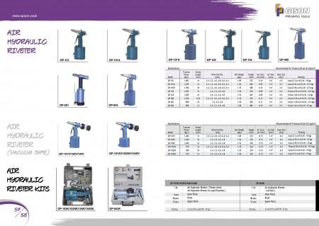 GISON Пневматичний гідравлічний клепальник, Пневматичний гідравлічний клепальник (вакуумний тип), Комплекти повітряних гідравлічних клепок