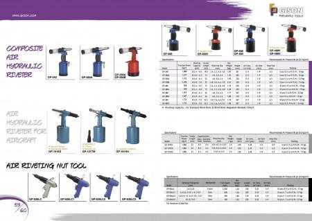 GISON Riveteuse hydraulique à air composite, riveteuse hydraulique à air (pour avion), outils à écrou de rivetage à l'air
