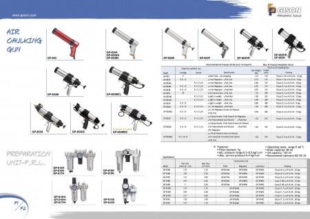 Pistola de calafetagem de ar GISON , Unidade de preparação (filtro, regulador, lubrificador), Filtro de ar, Regulador de ar, Lubrificador de ar