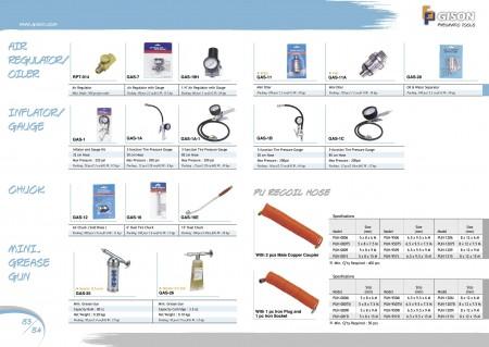 GISON Régulateur d'air, gonfleur de graisseur/mandrin de jauge, mini pistolet à graisse, tuyau de recul en PU