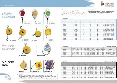GISONスプリングバランサー、エアホースバランサー、エアホースリール