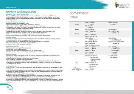 GISON Outils pneumatiques, outils pneumatiques Instructions de sécurité Facteurs de conversion