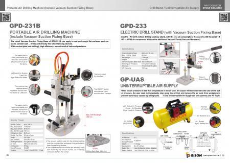 Perforatrice ad aria umida GPD-231B, supporto per trapano GPD-233, gruppo di continuità GP-UAS