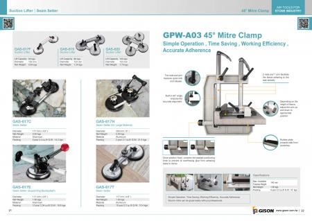 Suction Lifter, Seam Setter, GPW-A03 Miter Clamp